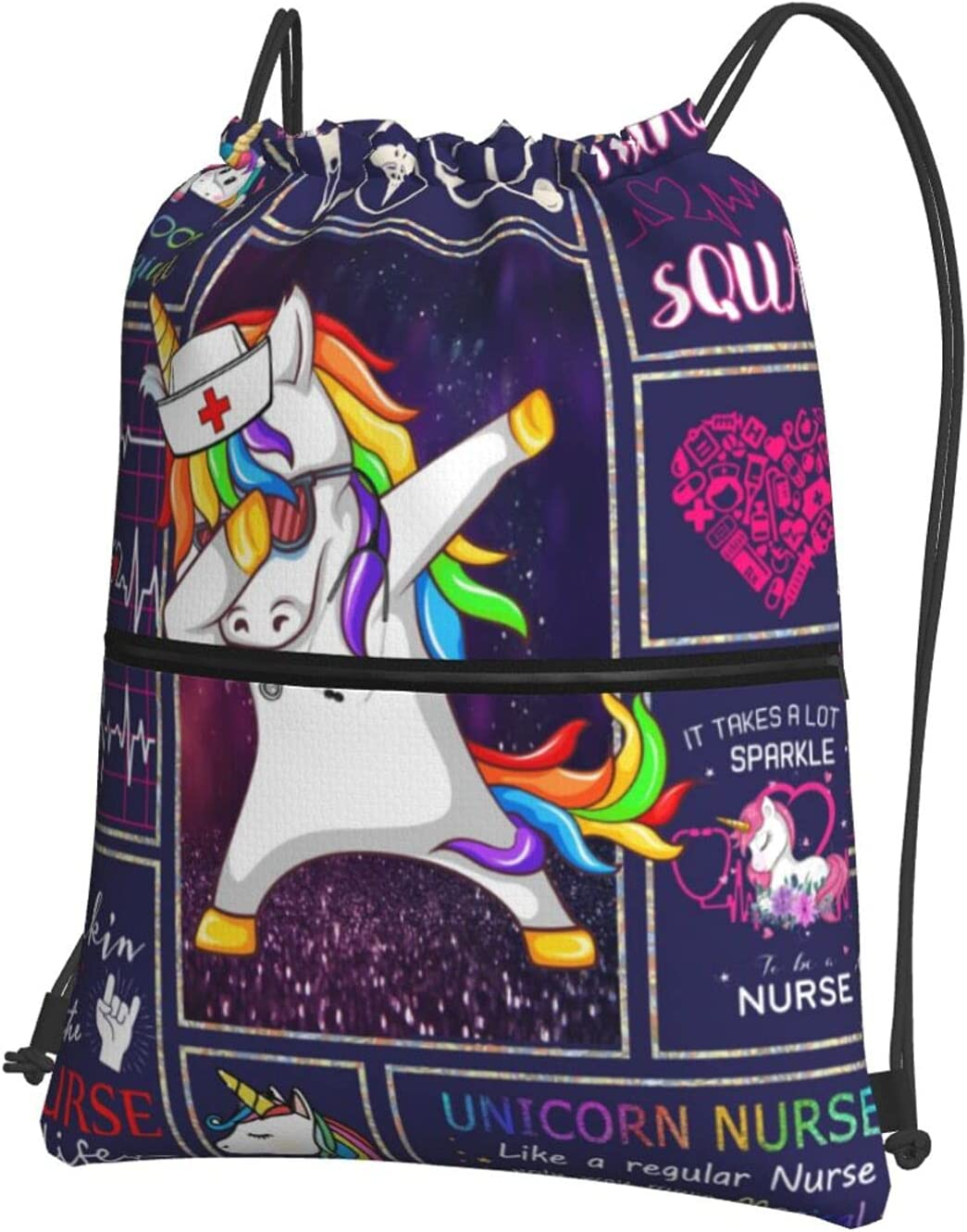 Drawstring Backpack Unicorn OFFicial store Nurse Heart Gym Resistant Water low-pricing Bag