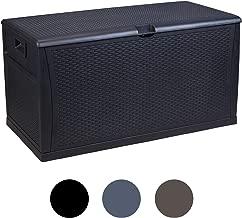 LEISURELIFE Plastic Deck Box Wicker 120 Gallon, Black - Waterproof Storage Container Outdoor Patio Garden Furniture