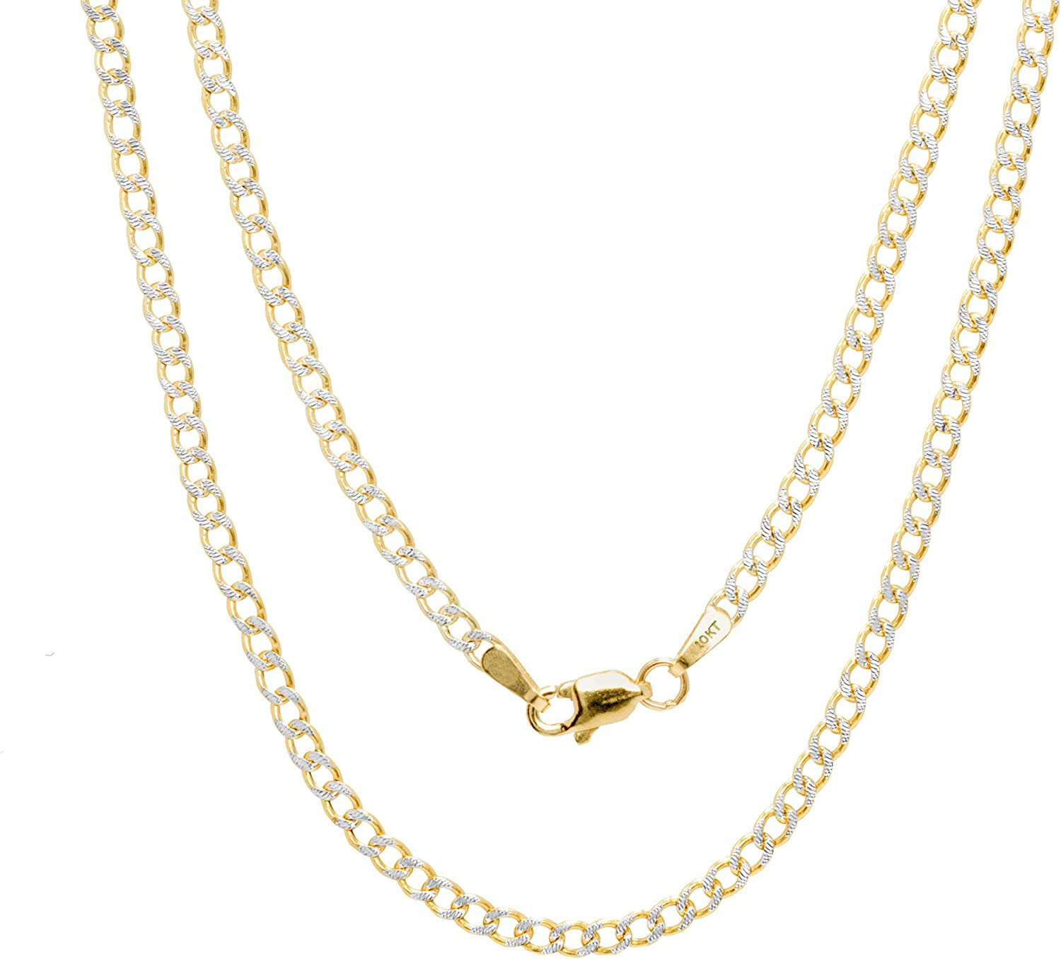 Nuragold 10k Yellow Gold 2.5mm Cuban Chain Curb Link Diamond Cut Pave Two Tone Pendant Necklace, Mens Womens Lobster Lock 16
