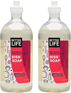 Better Life Sulfate Free Dish Soap, Tough on Grease & Gentle on Hands, Pomegranate, 22 Ounces (Pack of 2), 24069