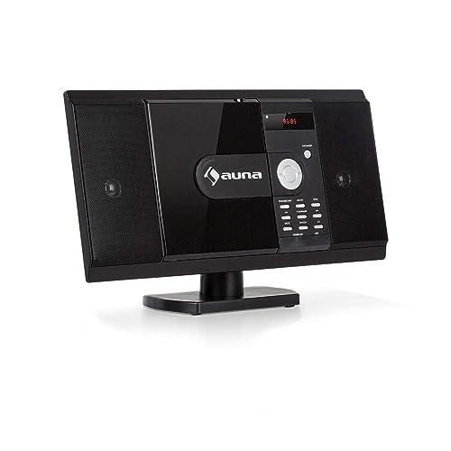 auna MCD-82 BT • Equipo estéreo Vertical • Equipo Compacto • Minicadena • Reproductor de CD y DVD • Bluetooth • USB y SD • Radio FM • HDMI • Negro
