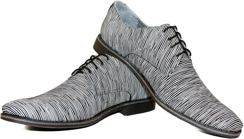 Modello Buizerro - Handgemachtes Italienisch Bunte Herrenschuhe Lederschuhe Herren Wei Oxfords Abendschuhe Schnürhalbschuhe - Rindsleder Weiches Leder - Schnüren