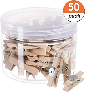 favide Favourde Push Pin with Wooden Clips Pushpins Tacks Thumbtacks for Cork Boards Artworks Notes Photos, Craft Projects, Offices and Homes, Pack of 50, Wood