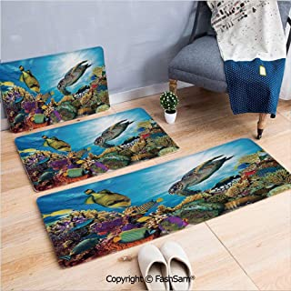 FashSam 3 Piece Non Slip Flannel Door Mat Colorful Fishes Hawksbill Floats Under Water Coral Reefs Aquatic Environment Theme Indoor Carpet for Bath Kitchen(W15.7xL23.6 by W19.6xL31.5 by W19.6xL59)