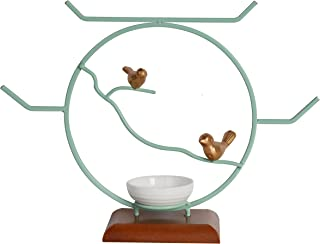 NIKKY HOME Bird Decorative Tabletop Round Jewelry Stand Necklace Holder with Ring Tray