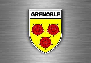Akachafactory Aufkleber Sticker Auto Motorrad Wappen Stadt Grenoble Region armoirie Flagge