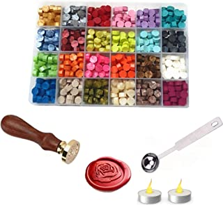 Wax Seal Stamp Sealing Wax Beads 600 Pcs with Wax Melting Spoon and 2Pcs Tea Candles 24 Colors Wax seals stamp kit for cra...