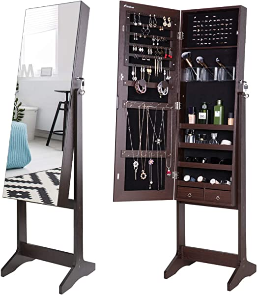 Nicetree Jewelry Cabinet With Full Length Mirror Standing Lockable Jewelry Armoire Organizer 3 Angel Adjustable Brown