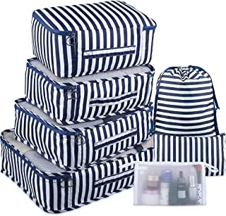 Packing Cubes 7 Pcs Travel Luggage Packing Organizers Set with Toiletry Bag (Navy+White)