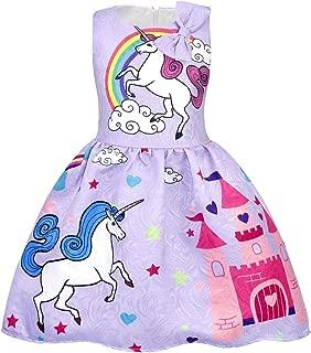 Cotrio Rainbow Unicorn Dress Little Girls Birthday Theme Party Dresses Toddler Pleated Skirt