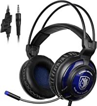 SADES SA805 Gaming Headset Over-Ear Gaming Headphones with Mic for Multi-Platform New Xbox One PC PS4 with Microphone Controller Noise-Reduction for PS4/New Xbox One/PCl (Black Blue)