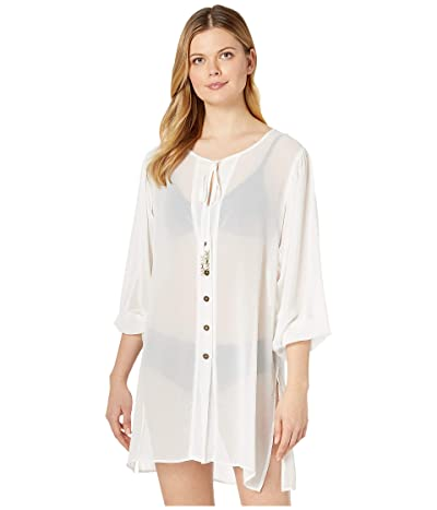 MICHAEL Michael Kors Solid Logo Chain Button Front Cover-Up Top (White) Women