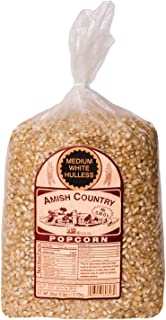 Amish Country Popcorn - Medium White Popcorn - Old Fashioned, Non GMO, and Gluten Free - with Recipe Guide and 1 Year Extended Freshness Warranty (6 Lb)
