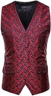 MU2M Men V-Neck Sleeveless Slim Fit Paisley Printed Waistcoat Suit Vest