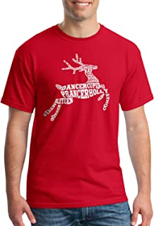 Threadrock Men's Christmas Reindeer Typography T-Shirt