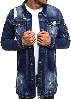 Mens Vintage Jacket Casual Wash Distressed Denim Jacket Outwear Parka Men Button Jackets Winter Overcoat