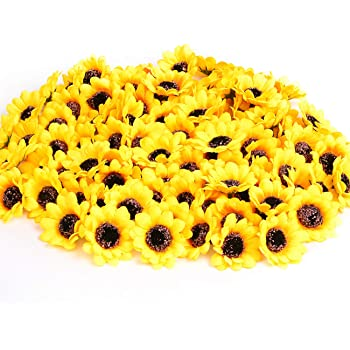 "KINWELL 100pcs Mini Artificial Silk Yellow Sunflower Heads 1.8"" Fabric Floral for Home Decoration Wedding Decor, Bride Holding Flowers,Garden Craft Art Decor"