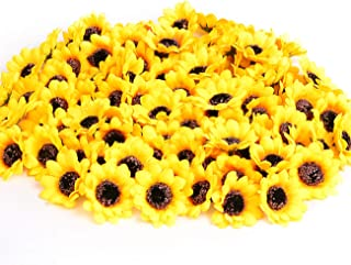 "KINWELL 100pcs Mini Artificial Silk Yellow Sunflower Heads 1.8"" Fabric Floral for.."