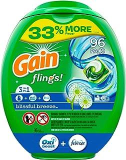 Gain flings! Liquid Laundry Detergent Pacs, Blissful Breeze, 96 Count