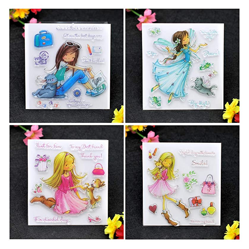 Kwan Crafts 4 Sheets Different Style Girl Cat Clear Stamps for Card Making Decoration and DIY Scrapbooking