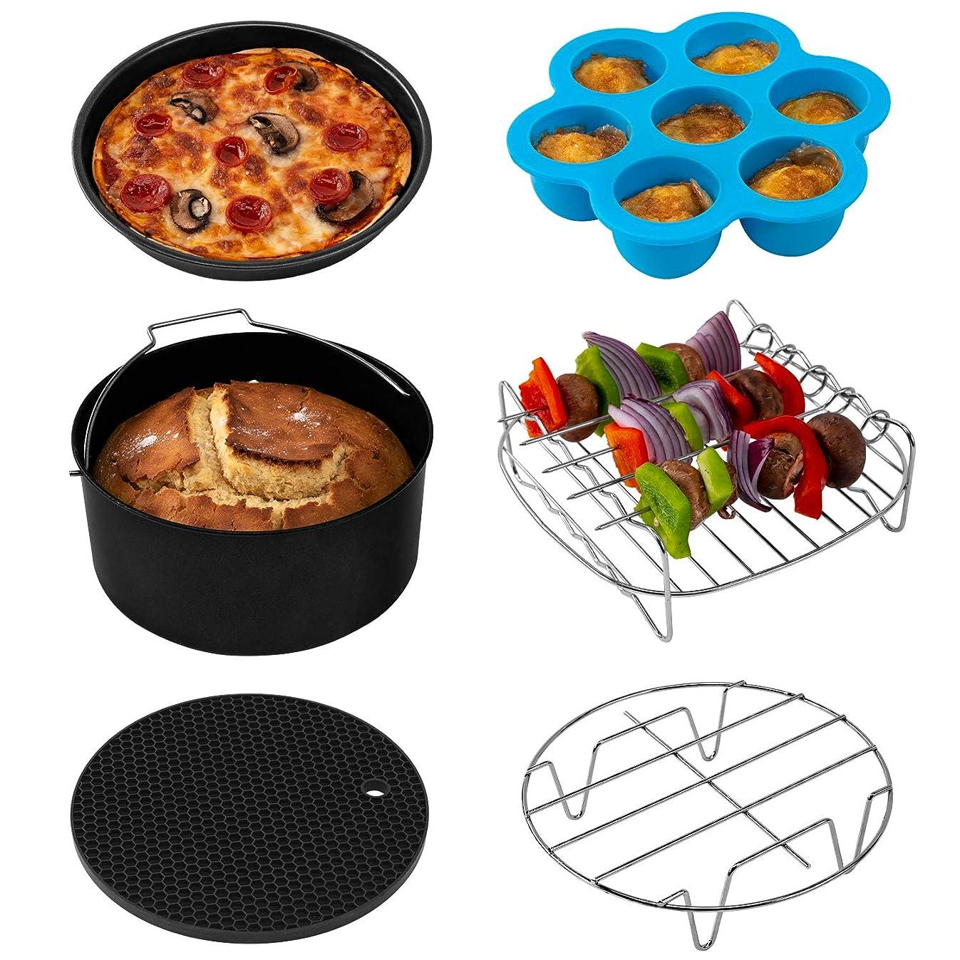 COSORI Air Fryer Accessories XL (C158-6AC), Set of 6 Fit all 5.3Qt, 5.8Qt, 6Qt Air Fryer, FDA Compliant, BPA Free, Dishwasher Safe, Nonstick Coating, 2-Year Warranty