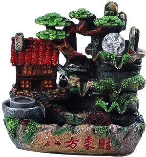 Rockyin Pequeño jardín de rocalla de Escritorio del Agua con luz Decoración for el Hogar (n atomización Efecto Enchufe de la 220V)