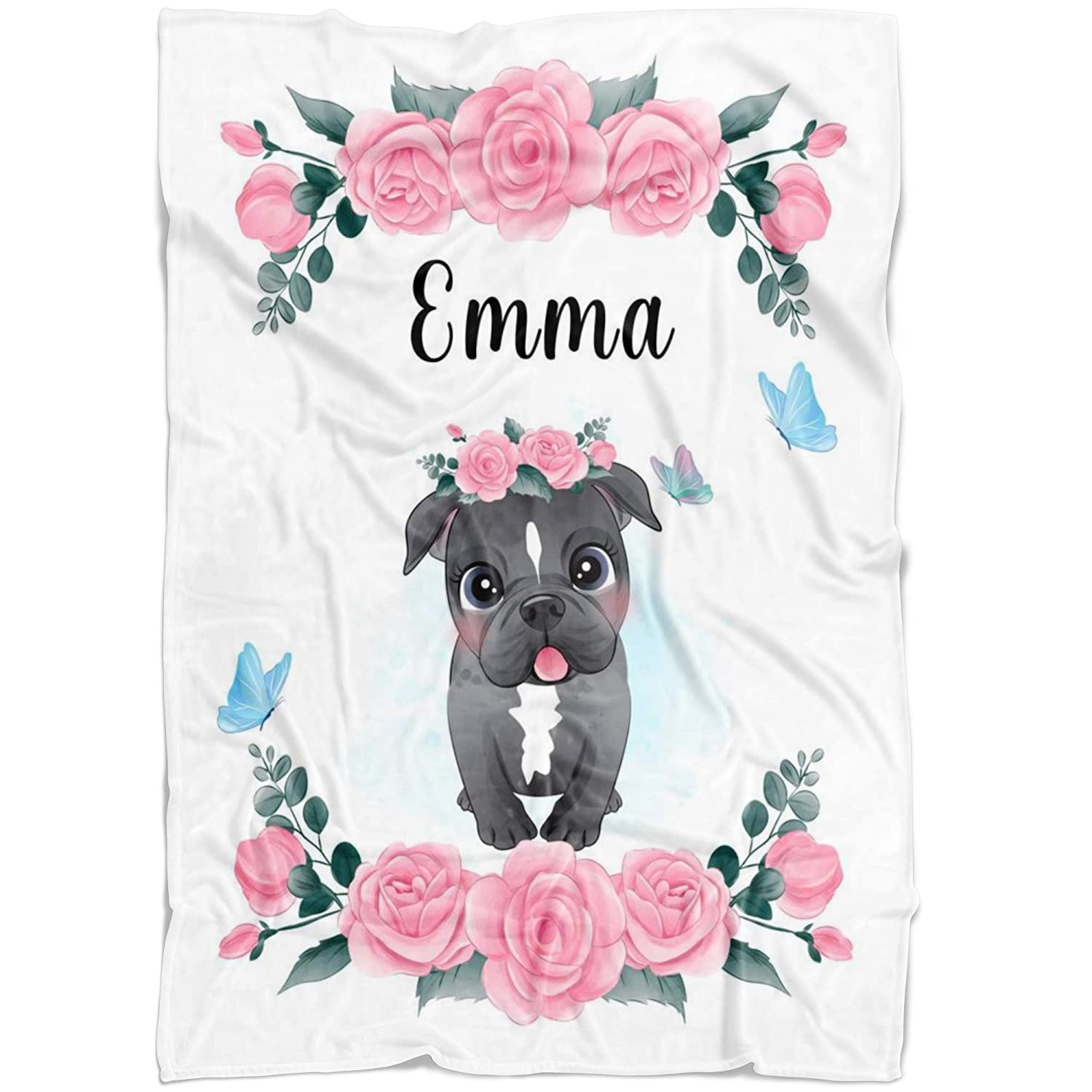 Tulsa Mall Pink Pitbull with Floral Custom Baby Blanket for Girl Name Sale special price Flor