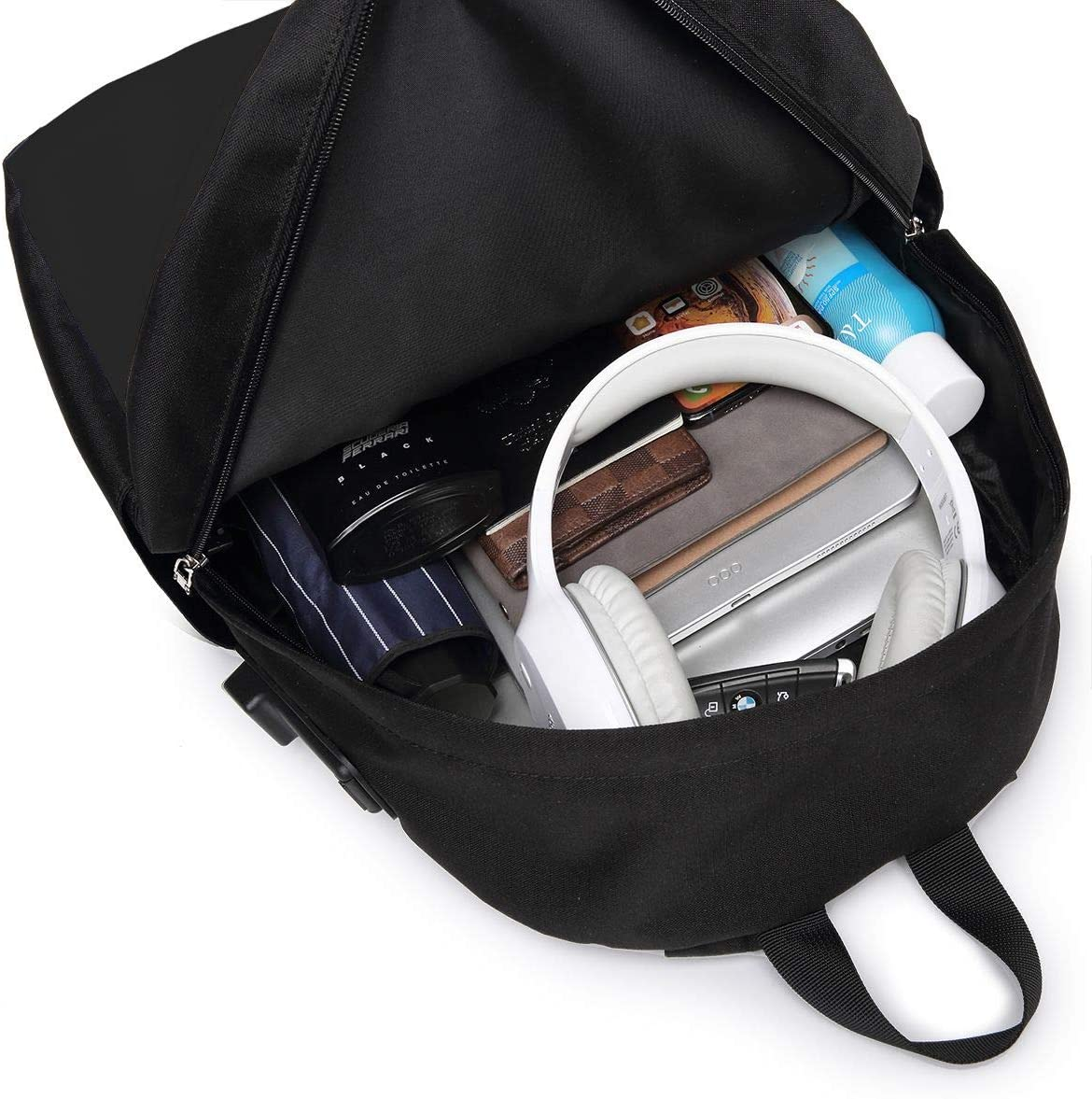 I Love My Haitian Heart Flag USB Backpack School Bag School Bookbag Travel Bag Computer Bag