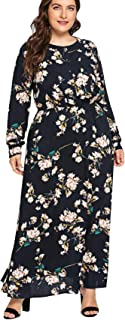 Floerns Women's Plus Size Floral Maxi Dress Long Sleeve Elastic Wasit Party Dress