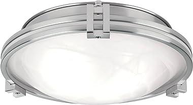"Deco Modern Ceiling Light Flush Mount Fixture Brushed Nickel 12 3/4"" Wide Marbleized Glass Bowl for Bedroom Kitchen Living Room Hallway Bathroom - Possini Euro Design"