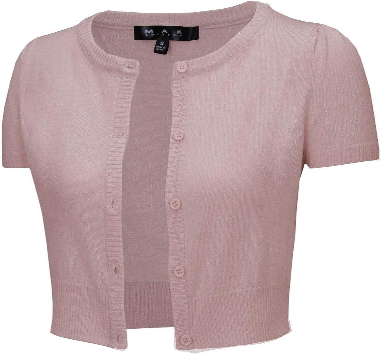 YEMAK Women's Cropped Bolero Cardigan – Short Sleeve Crewneck Basic Classic Casual Button Down Knit Soft Sweater Knitted Top