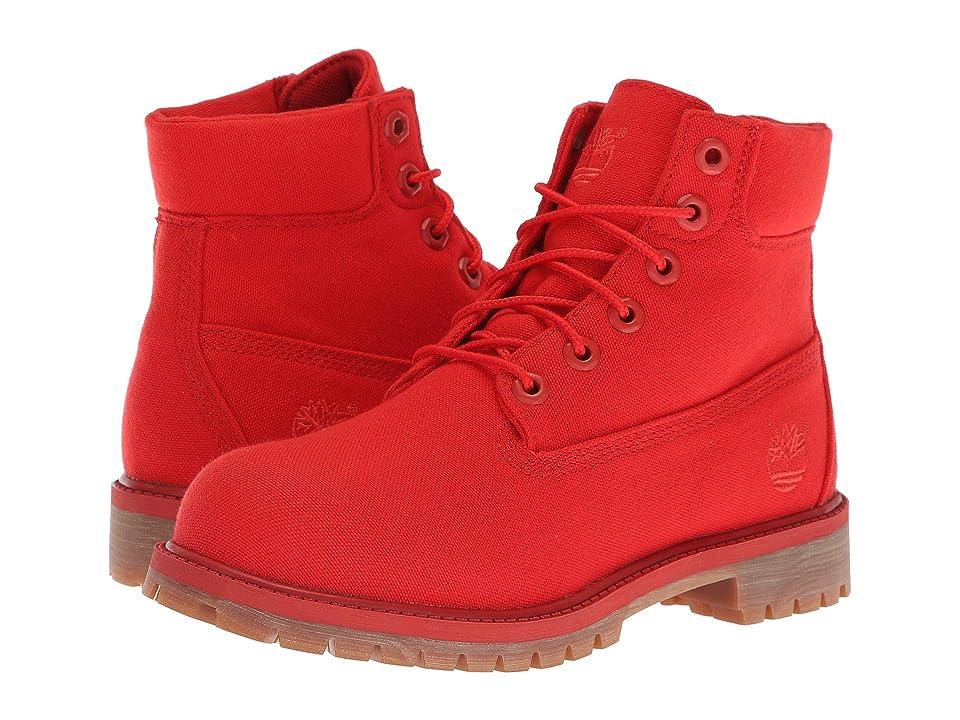 Timberland Kids 6 Premium Fabric Boot (Big Kid) (Medium Red Canvas) Kids Shoes