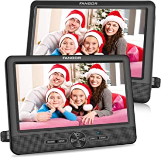 Best FANGOR 10'' Dual Car DVD Player Portable Headrest CD Players with 2 Mounting Brackets, 5 Hours Rechargeable Battery, Last Memory, Free Regions, USB/SD Card Reader, AV Out&in ( 1 Player + 1 Screen ) Review
