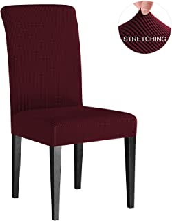 subrtex Dining Room Chair Slipcovers Sets Stretch Furniture Protector Covers for Armchair Removable Washable Elastic Parsons Seat Case for Restaurant Hotel Ceremony, 4 Pieces, Wine Checks