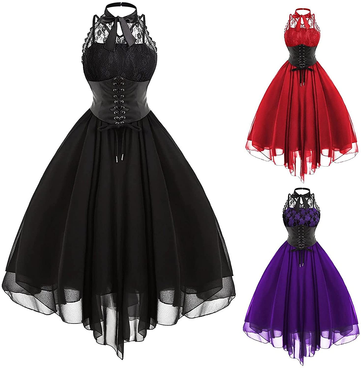 Womens Gothic Cocktail Party Dresses Fashion Casual Sleeveless Spaghetti Strap Tie Waist Sexy Lace Club Evening Dress