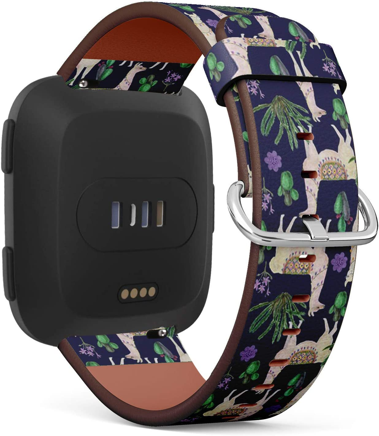 Compatible with Fitbit Versa, Versa 2, Versa Lite - Quick Release Leather Wristband Bracelet Replacement Accessory Band - Watercoloring Llamas