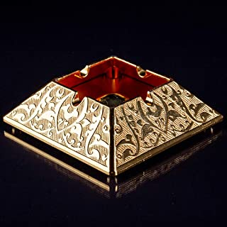 Metal Cool Cigar Ashtray for Cigarettes Outdoor Ash Tray for Patio Indoor Home Cute for Women Man (Gold)