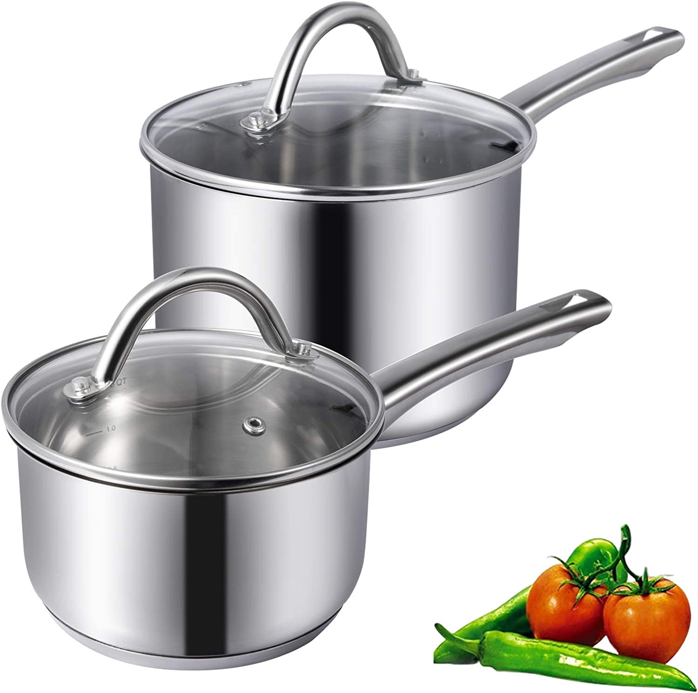 G Wise 2 QT Saucepan Stainless Steel 18//10 Cooking Pots Pans Saucepot Cookware Induction 16cm