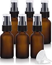 1 oz / 30 ml Frosted Amber Glass Boston Round Black Treatment Pump Bottle (6 pack) + Funnel for E-liquid, Essential oils, Cosmetics, Skincare, Aromatherapy, Travel