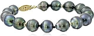 14k Yellow Gold Black Baroque Tahitian Cultured Pearl Strand Bracelet (8-10mm)