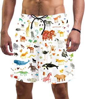 Mens Swim Shorts Waterproof Quick Dry Beach Shorts with Mesh Lining,Animals