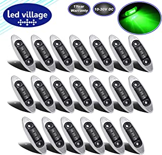 LedVillage [Pack of 20] 4 Inch Mini Oval Smoked Lens Green LED Side Marker Lights Indicator Clearance Bulb Waterproof w/Chrome Bezel Lorry Trailer Boat Truck Cab Tow Jeep RV 10-30v DC Universal QR1030