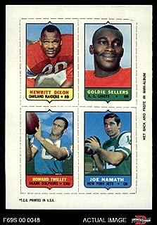 1969 Topps 4-in-1 Football Stamps Hewritt Dixon/Goldie Sellers/Howard Twilley/Joe Namath (Football Card) Dean's Cards 7 - NM