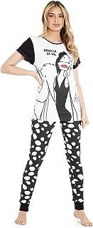 Disney Womens Pyjamas, Cruela de Vil Women's Pyjama Sets 100% Cotton S-XL