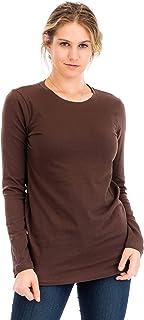 NANAVA Casual Cotton Crew Neck Long Sleeve T-Shirt Top Americano 3X