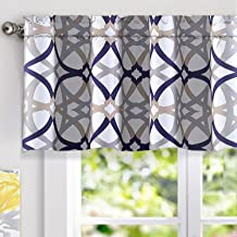 DriftAway Alexander Spiral Geo Trellis Pattern Window Curtain Valance Rod Pocket 52 Inch by 18 Inch Plus 2 Inch Header Navy and Gray