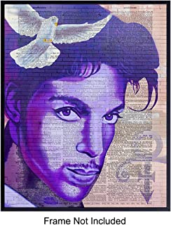 Prince Graffiti Street Art Mural - Wall Art Print on Dictionary Photo - Ready to Frame (8x10) Vintage Photo - Perfect Gift for Punk, Rock n Roll, 80's Music Fans and Guitar Players - Chic Home Decor