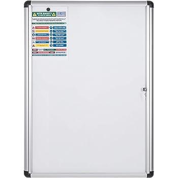 Bi-Office Bacheca Enclore Extra Superficie Magnetica In Acciaio Laccato Verticale 9 x A4 Bacheca Con Anta Battente Per Interni in Alluminio