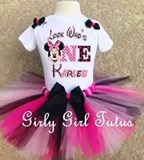 6b80dbbdfff81 Minnie Mouse 1st Birthday Custom Outfit Tutu Set
