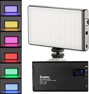 RGB LED Full Color Video Light CNC Aluminum Alloy Body 3300mAh Rechargeable Battery Pocket Light with Cold Shoe for Camera Camcorder with 2500K-8500K Color Range, 10 Scenario Simulations LCD Display